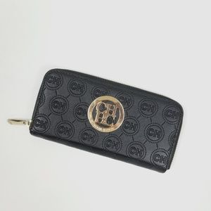 Carolina Herrera Monogram Zip Wallet Black